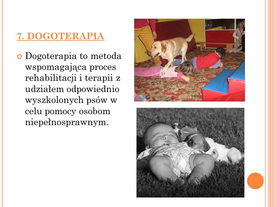 7. DOGOTERAPIA Dogoterapia to metoda wspomagająca proces rehabilitacji i terapii z udziałem odpowiednio wyszkolonych psów w celu pomocy osobom niepełn