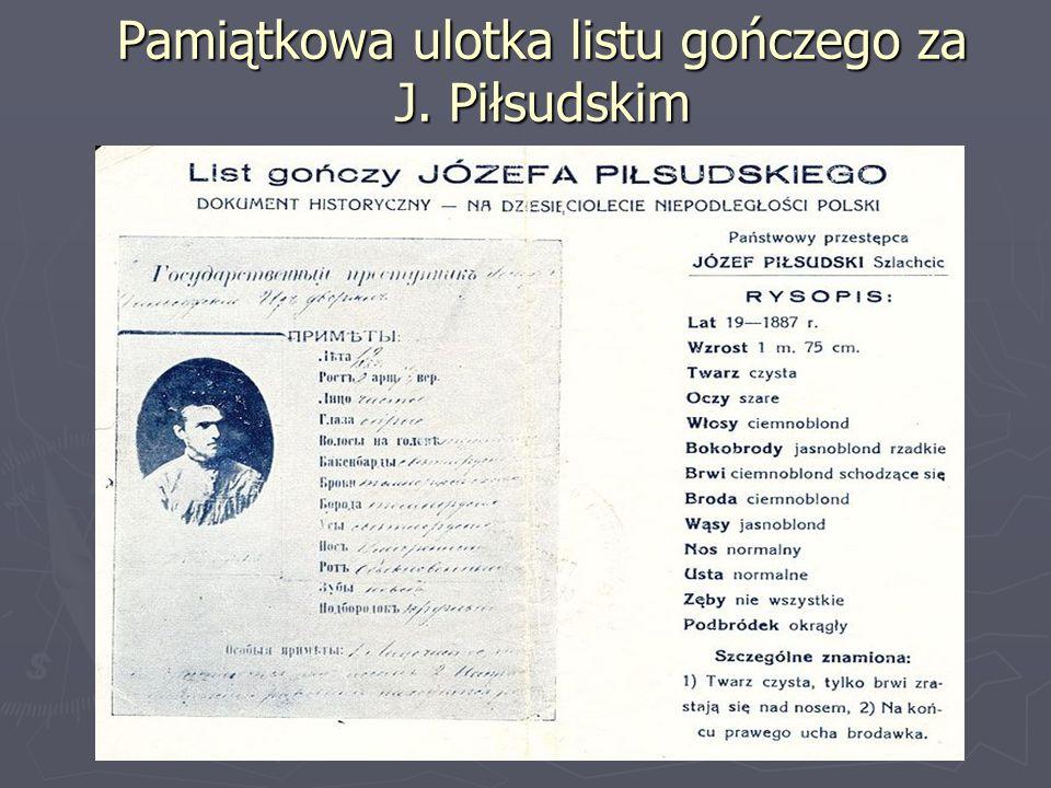 Pamiątkowa ulotka listu gończego za J. Piłsudskim
