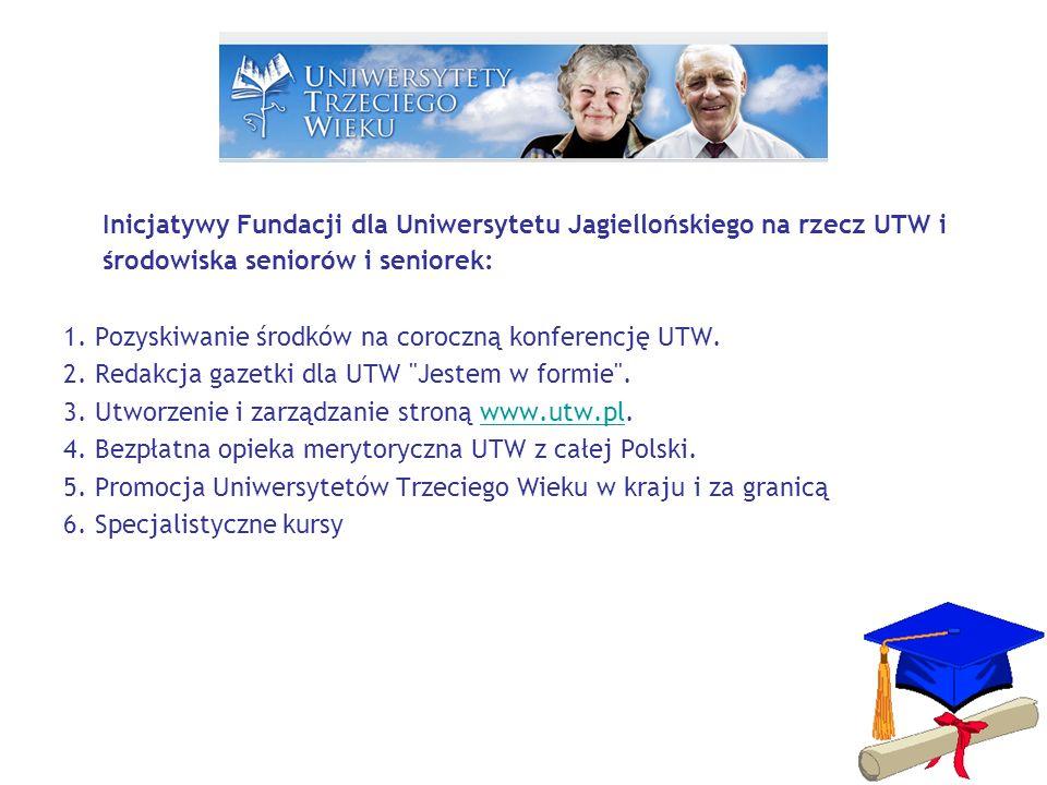 Inicjatywy Fundacji dla Uniwersytetu Jagiellońskiego na rzecz UTW i środowiska seniorów i seniorek: 1.