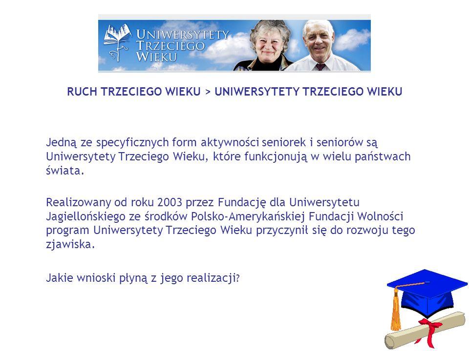 RUCH TRZECIEGO WIEKU > UNIWERSYTETY TRZECIEGO WIEKU Jedną ze specyficznych form aktywności seniorek i seniorów są Uniwersytety Trzeciego Wieku, które