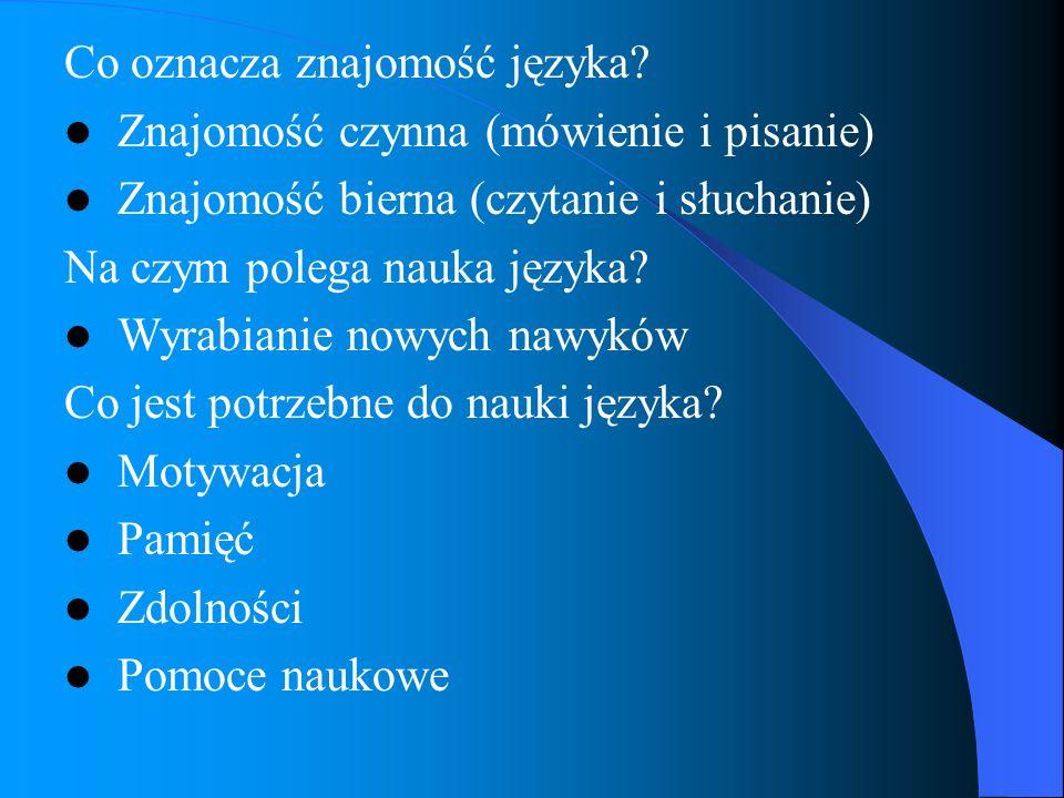 Co oznacza znajomość języka? Znajomość czynna (mówienie i pisanie) Znajomość bierna (czytanie i słuchanie) Na czym polega nauka języka? Wyrabianie now