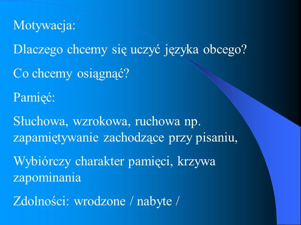 Motywacja: Dlaczego chcemy się uczyć języka obcego? Co chcemy osiągnąć? Pamięć: Słuchowa, wzrokowa, ruchowa np. zapamiętywanie zachodzące przy pisaniu