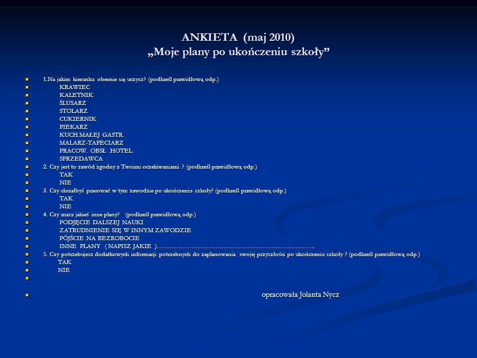 ANKIETA (maj 2010) Moje plany po ukończeniu szkoły 1.Na jakim kierunku obecnie się uczysz.
