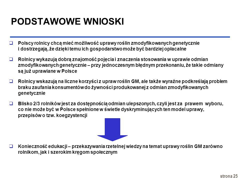 strona 25 PODSTAWOWE WNIOSKI Polscy rolnicy chcą mieć możliwość uprawy roślin zmodyfikowanych genetycznie i dostrzegają, że dzięki temu ich gospodarst