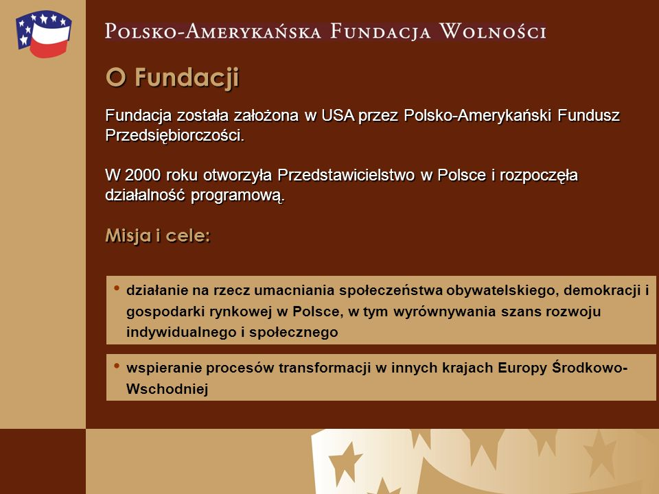 O Fundacji Fundacja została założona w USA przez Polsko-Amerykański Fundusz Przedsiębiorczości.