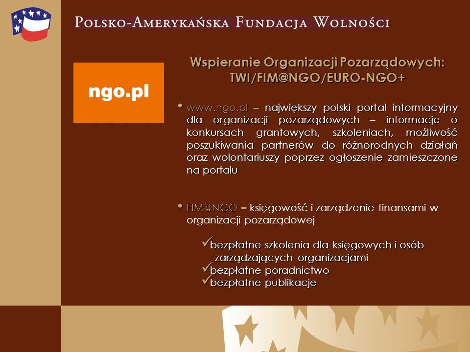 Wspieranie Organizacji Pozarządowych: TWI/FIM@NGO/EURO-NGO+ www.ngo.pl – największy polski portal informacyjny dla organizacji pozarządowych – informacje o konkursach grantowych, szkoleniach, możliwość poszukiwania partnerów do różnorodnych działań oraz wolontariuszy poprzez ogłoszenie zamieszczone na portalu www.ngo.pl – największy polski portal informacyjny dla organizacji pozarządowych – informacje o konkursach grantowych, szkoleniach, możliwość poszukiwania partnerów do różnorodnych działań oraz wolontariuszy poprzez ogłoszenie zamieszczone na portalu FIM@NGO – FIM@NGO – księgowość i zarządzenie finansami w organizacji pozarządowej bezpłatne szkolenia dla księgowych i osób bezpłatne szkolenia dla księgowych i osób zarządzających organizacjami zarządzających organizacjami bezpłatne poradnictwo bezpłatne poradnictwo bezpłatne publikacje bezpłatne publikacje