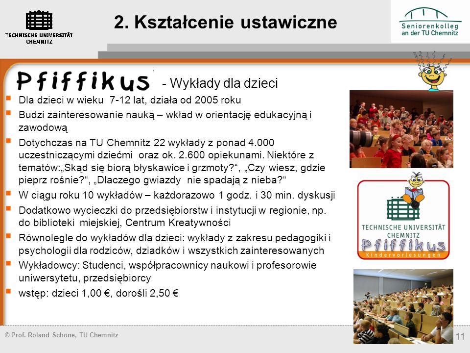 © Prof. Roland Schöne, TU Chemnitz 11 2. Kształcenie ustawiczne - Wykłady dla dzieci Dla dzieci w wieku 7-12 lat, działa od 2005 roku Budzi zaintereso
