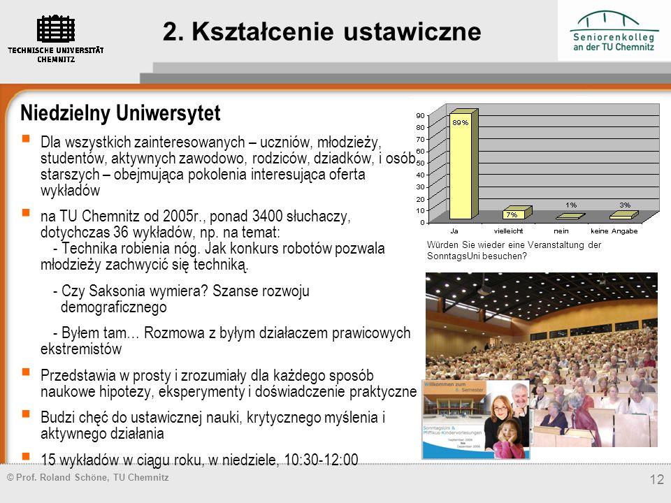 © Prof. Roland Schöne, TU Chemnitz 12 Niedzielny Uniwersytet Dla wszystkich zainteresowanych – uczniów, młodzieży, studentów, aktywnych zawodowo, rodz