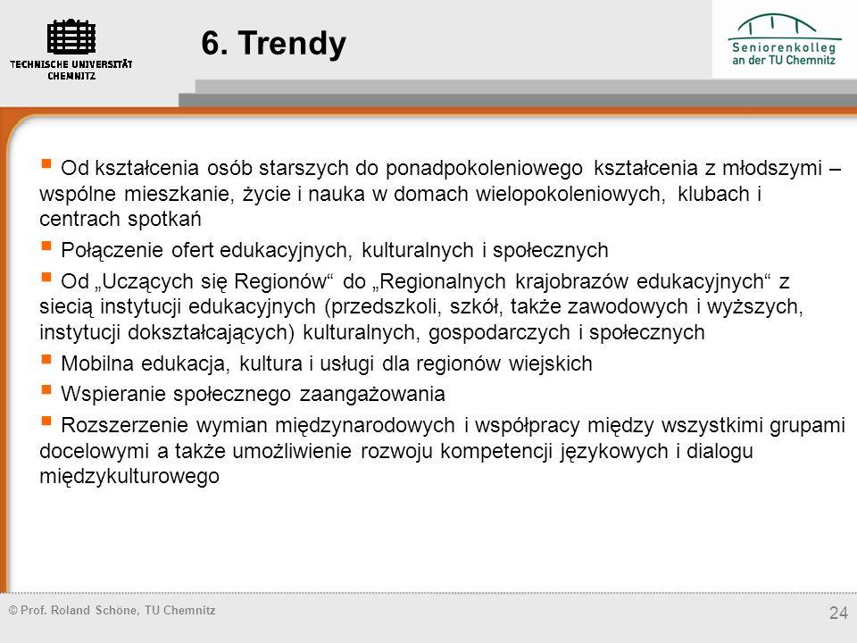 © Prof. Roland Schöne, TU Chemnitz 24 6. Trendy Od kształcenia osób starszych do ponadpokoleniowego kształcenia z młodszymi – wspólne mieszkanie, życi