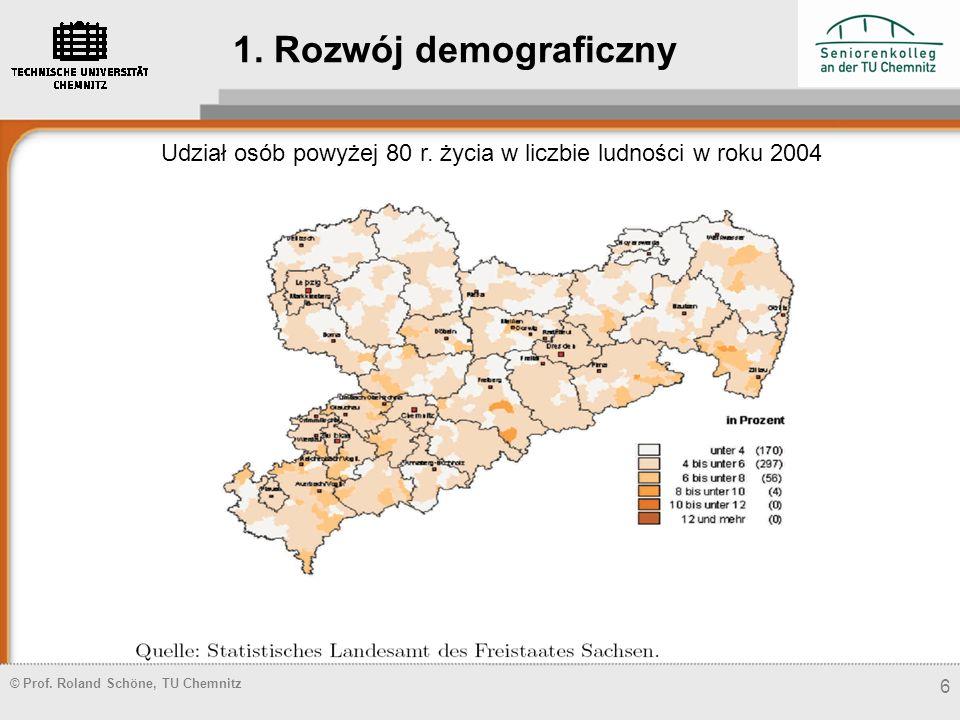 © Prof. Roland Schöne, TU Chemnitz 6 Udział osób powyżej 80 r. życia w liczbie ludności w roku 2004 1. Rozwój demograficzny
