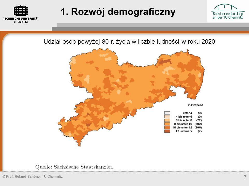 © Prof. Roland Schöne, TU Chemnitz 7 Udział osób powyżej 80 r. życia w liczbie ludności w roku 2020 1. Rozwój demograficzny