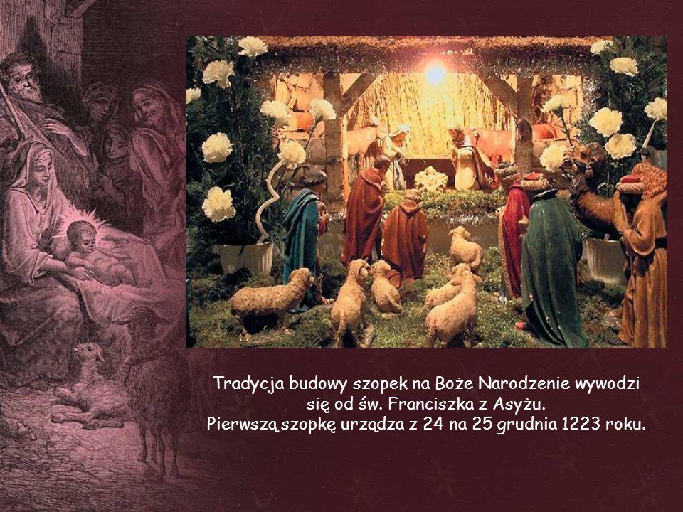 Tradycja budowy szopek na Boże Narodzenie wywodzi się od św. Franciszka z Asyżu. Pierwszą szopkę urządza z 24 na 25 grudnia 1223 roku.