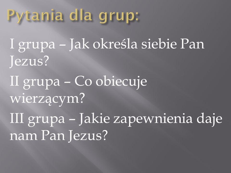 I grupa – Jak określa siebie Pan Jezus? II grupa – Co obiecuje wierzącym? III grupa – Jakie zapewnienia daje nam Pan Jezus?