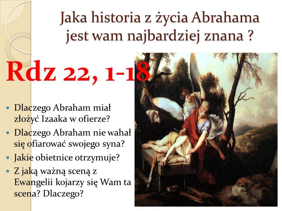 Jaka historia z życia Abrahama jest wam najbardziej znana ? Dlaczego Abraham miał złożyć Izaaka w ofierze? Dlaczego Abraham nie wahał się ofiarować sw