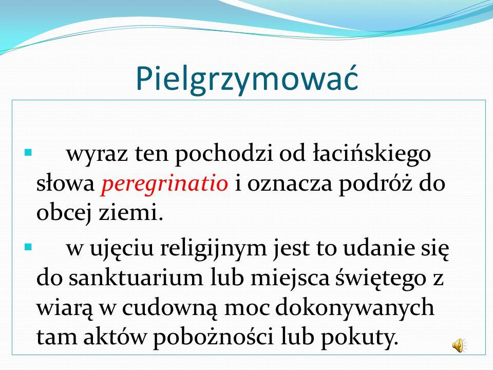 Pielgrzymować wyraz ten pochodzi od łacińskiego słowa peregrinatio i oznacza podróż do obcej ziemi.