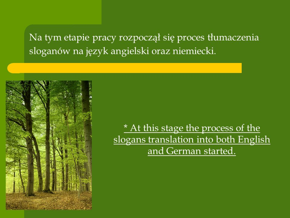 Na tym etapie pracy rozpoczął się proces tłumaczenia sloganów na język angielski oraz niemiecki. * At this stage the process of the slogans translatio