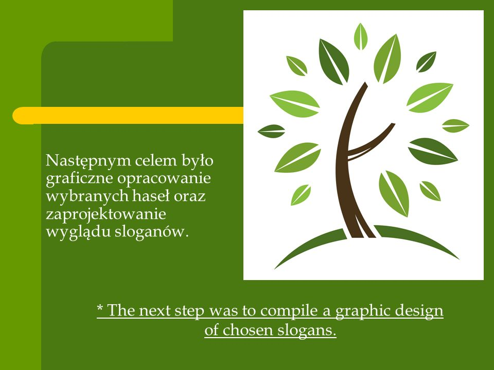 Następnym celem było graficzne opracowanie wybranych haseł oraz zaprojektowanie wyglądu sloganów. * The next step was to compile a graphic design of c