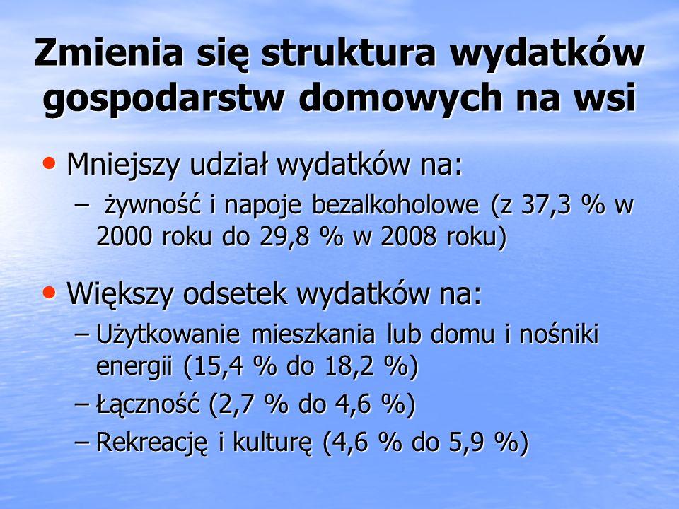 Zwiększają się wydatki gospodarstw domowych ludności na wsi i zmniejsza się dystans w porównaniu z gospodarstwami domowymi ludności w miastach Przecię