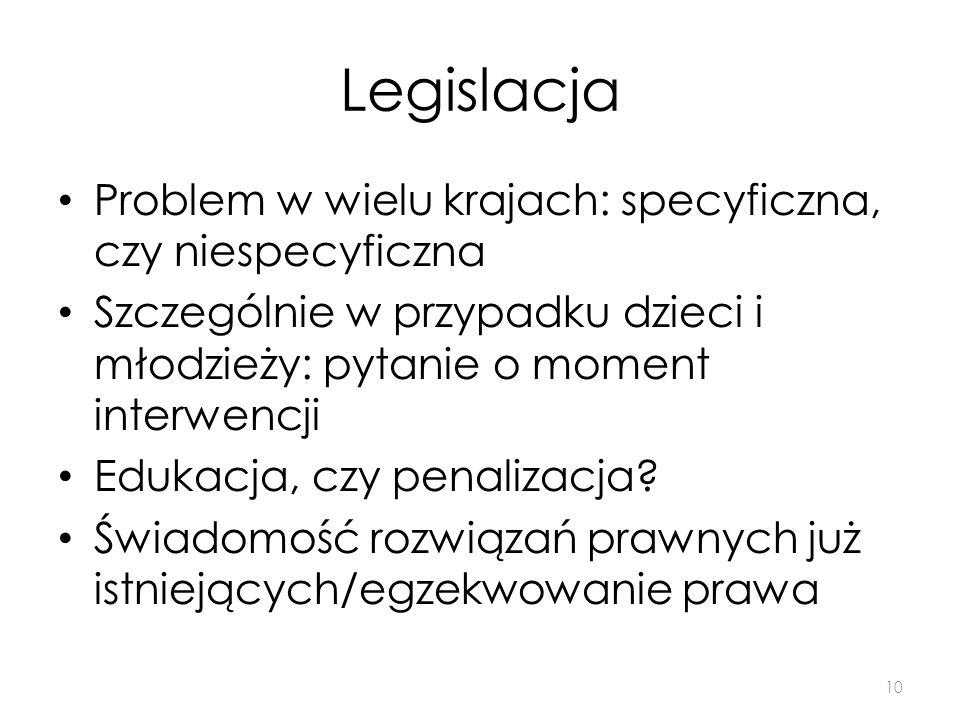 Legislacja Problem w wielu krajach: specyficzna, czy niespecyficzna Szczególnie w przypadku dzieci i młodzieży: pytanie o moment interwencji Edukacja,