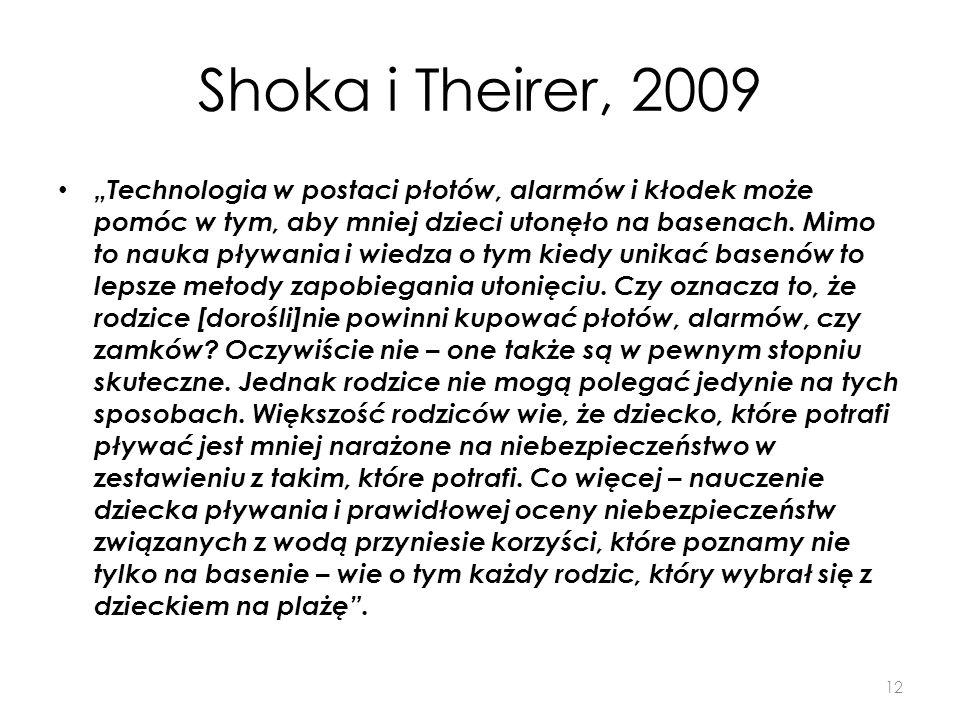 Shoka i Theirer, 2009 Technologia w postaci płotów, alarmów i kłodek może pomóc w tym, aby mniej dzieci utonęło na basenach. Mimo to nauka pływania i