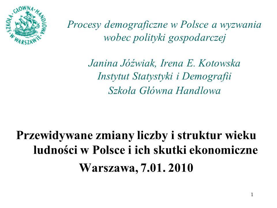 1 Procesy demograficzne w Polsce a wyzwania wobec polityki gospodarczej Janina Jóźwiak, Irena E. Kotowska Instytut Statystyki i Demografii Szkoła Głów