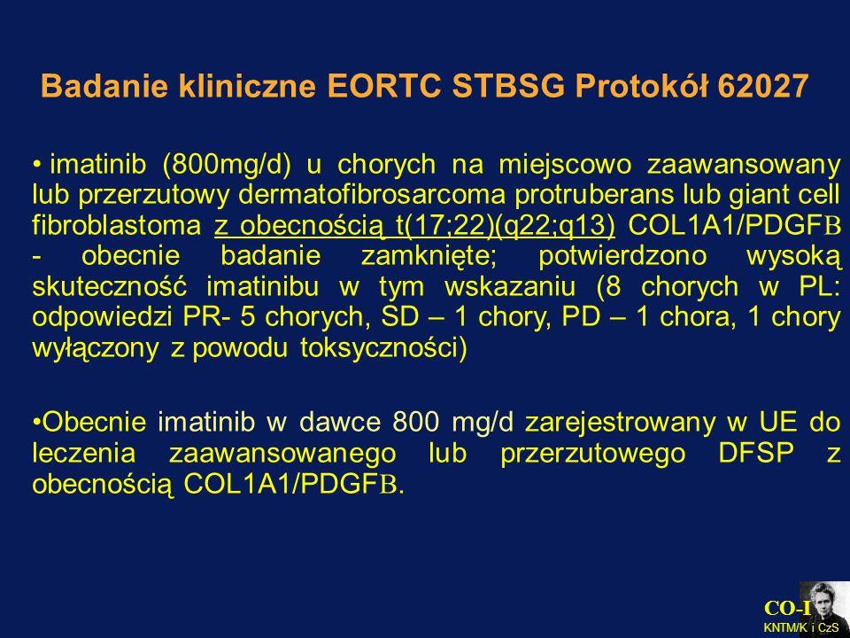 Badanie kliniczne EORTC STBSG Protokół 62027 imatinib (800mg/d) u chorych na miejscowo zaawansowany lub przerzutowy dermatofibrosarcoma protruberans l