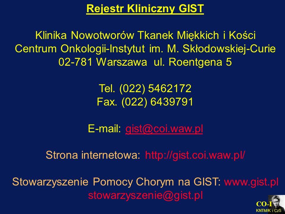 CO-I KNTM/K i CzS Rejestr Kliniczny GIST Klinika Nowotworów Tkanek Miękkich i Kości Centrum Onkologii-Instytut im. M. Skłodowskiej-Curie 02-781 Warsza