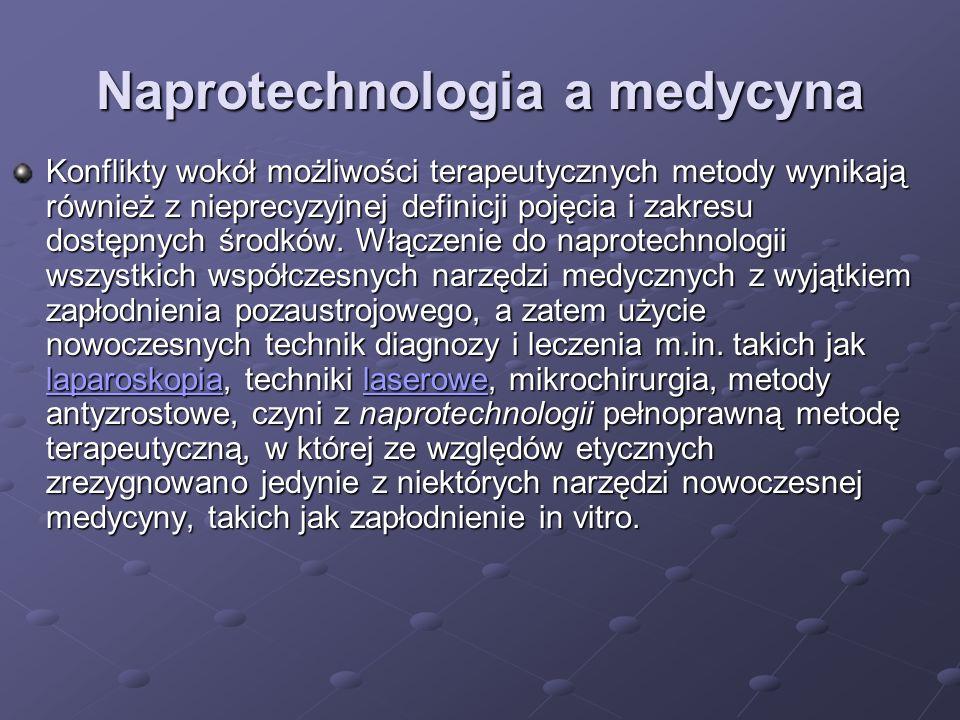 Naprotechnologia a medycyna Konflikty wokół możliwości terapeutycznych metody wynikają również z nieprecyzyjnej definicji pojęcia i zakresu dostępnych