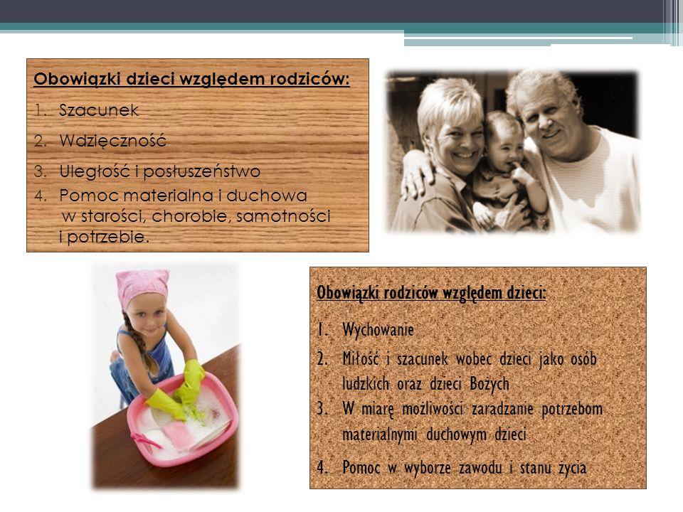 Obowiązki dzieci względem rodziców: 1.Szacunek 2.Wdzięczność 3.Uległość i posłuszeństwo 4.Pomoc materialna i duchowa w starości, chorobie, samotności