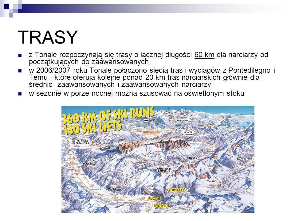 TRASY z Tonale rozpoczynają się trasy o łącznej długości 60 km dla narciarzy od początkujących do zaawansowanych w 2006/2007 roku Tonale połączono siecią tras i wyciągów z Pontedilegno i Temu - które oferują kolejne ponad 20 km tras narciarskich głównie dla średnio- zaawansowanych i zaawansowanych narciarzy w sezonie w porze nocnej można szusować na oświetlonym stoku