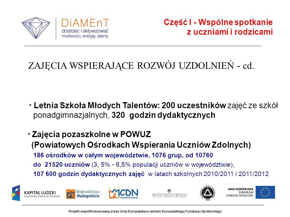 Projekt współfinansowany przez Unię Europejską w ramach Europejskiego Funduszu Społecznego Część I - Wspólne spotkanie z uczniami i rodzicami * Letnia Szkoła Młodych Talentów: 200 uczestników zajęć ze szkół ponadgimnazjalnych, 320 godzin dydaktycznych * Zajęcia pozaszkolne w POWUZ (Powiatowych Ośrodkach Wspierania Uczniów Zdolnych) 186 ośrodków w całym województwie, 1076 grup, od 10760 do 21520 uczniów (3, 5% - 6,5% populacji uczniów w województwie), 107 600 godzin dydaktycznych zajęć w latach szkolnych 2010/2011 i 2011/2012 ZAJĘCIA WSPIERAJĄCE ROZWÓJ UZDOLNIEŃ - cd.