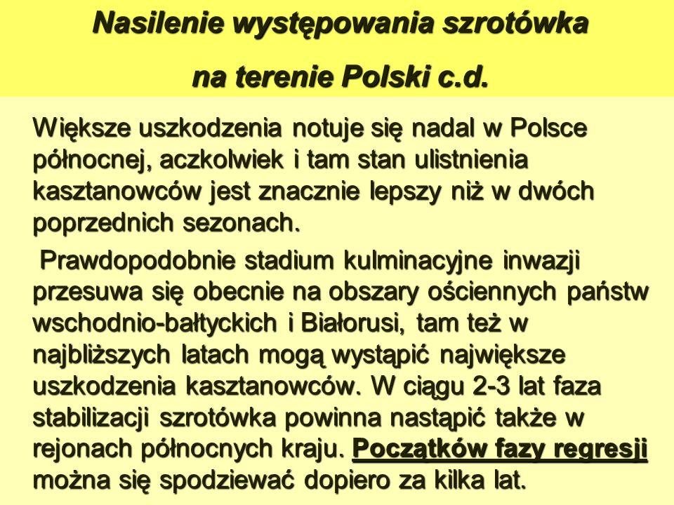 Większe uszkodzenia notuje się nadal w Polsce północnej, aczkolwiek i tam stan ulistnienia kasztanowców jest znacznie lepszy niż w dwóch poprzednich sezonach.