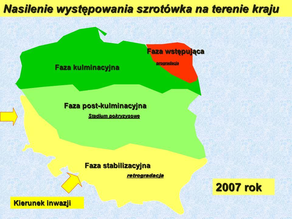 Nasilenie występowania szrotówka na terenie kraju 2007 rok Faza stabilizacyjna retrogradacja Faza post-kulminacyjna Stadium pokryzysowe Faza wstępująca progradacja progradacja Faza kulminacyjna Kierunek inwazji