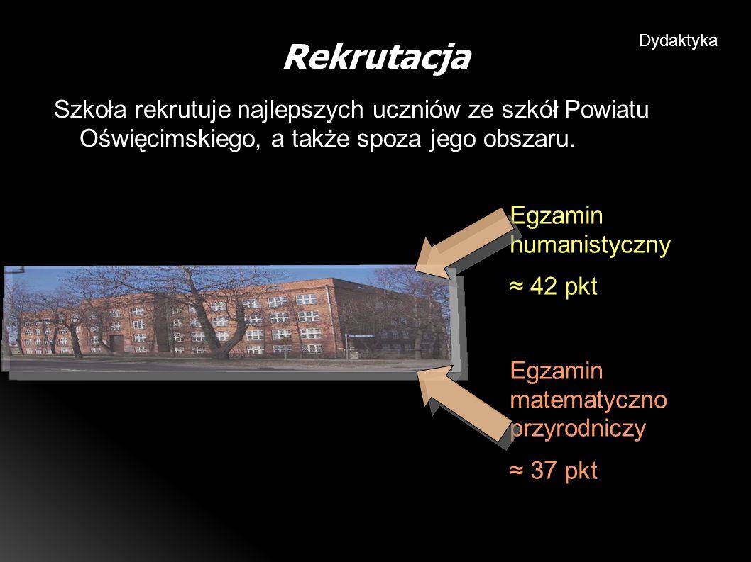 Szkoła rekrutuje najlepszych uczniów ze szkół Powiatu Oświęcimskiego, a także spoza jego obszaru.
