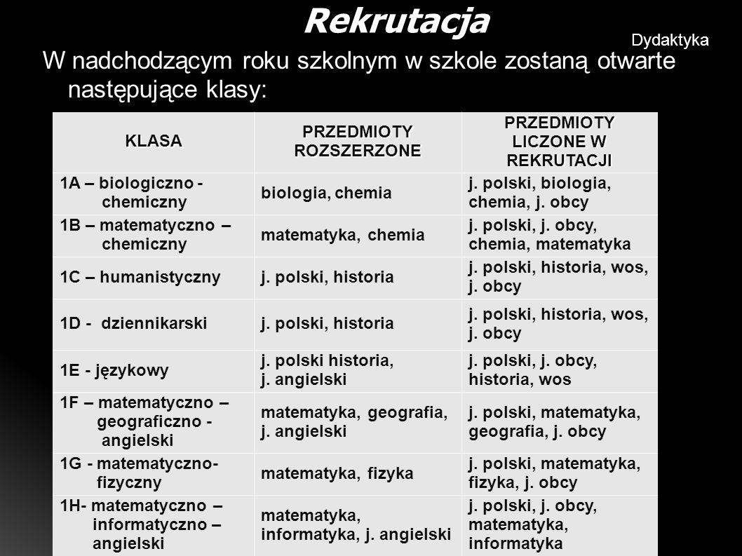 W nadchodzącym roku szkolnym w szkole zostaną otwarte następujące klasy: Rekrutacja Dydaktyka KLASAPRZEDMIOTYROZSZERZONEPRZEDMIOTY LICZONE W REKRUTACJI 1A – biologiczno - chemiczny biologia, chemia j.