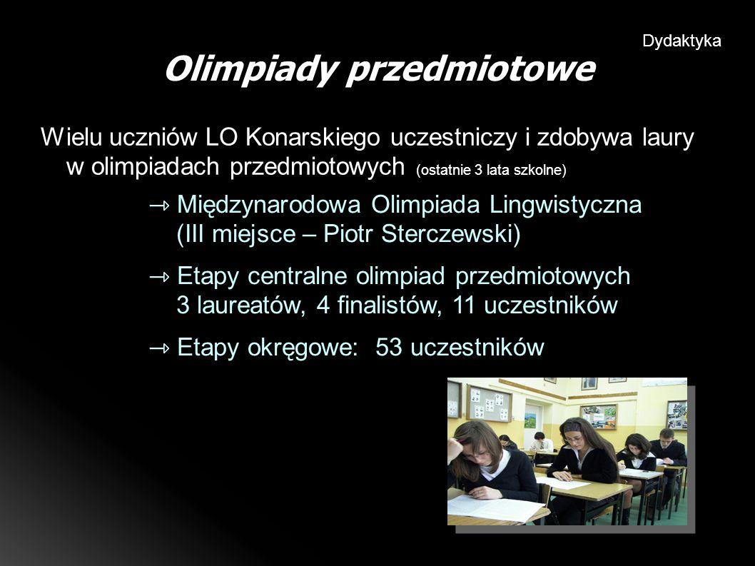 Wielu uczniów LO Konarskiego uczestniczy i zdobywa laury w olimpiadach przedmiotowych (ostatnie 3 lata szkolne) Olimpiady przedmiotowe Dydaktyka Międzynarodowa Olimpiada Lingwistyczna (III miejsce – Piotr Sterczewski) Etapy centralne olimpiad przedmiotowych 3 laureatów, 4 finalistów, 11 uczestników Etapy okręgowe: 53 uczestników