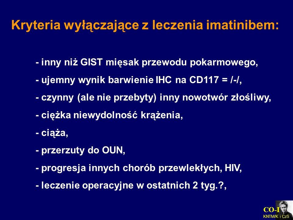 CO-I KNTM/K i CzS Kryteria wyłączające z leczenia imatinibem: - inny niż GIST mięsak przewodu pokarmowego, - ujemny wynik barwienie IHC na CD117 = /-/