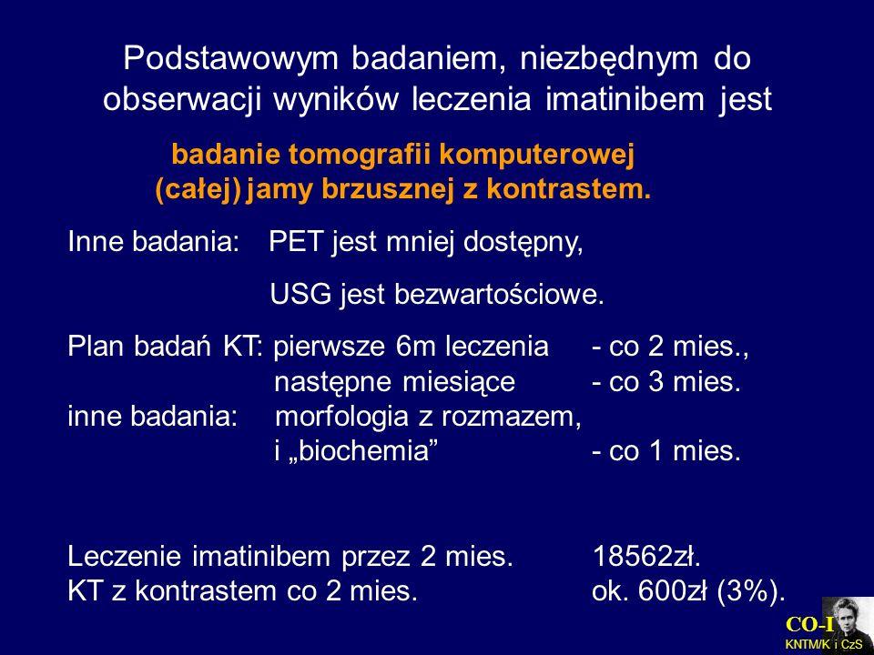 Podstawowym badaniem, niezbędnym do obserwacji wyników leczenia imatinibem jest badanie tomografii komputerowej (całej) jamy brzusznej z kontrastem. I