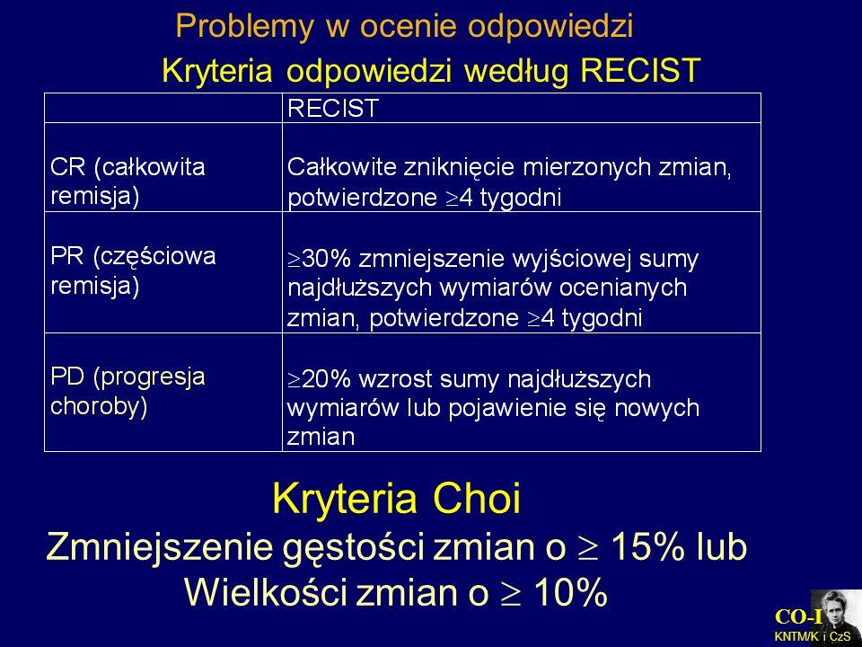 CO-I KNTM/K i CzS Kryteria odpowiedzi według RECIST Kryteria Choi Zmniejszenie gęstości zmian o 15% lub Wielkości zmian o 10% Problemy w ocenie odpowi