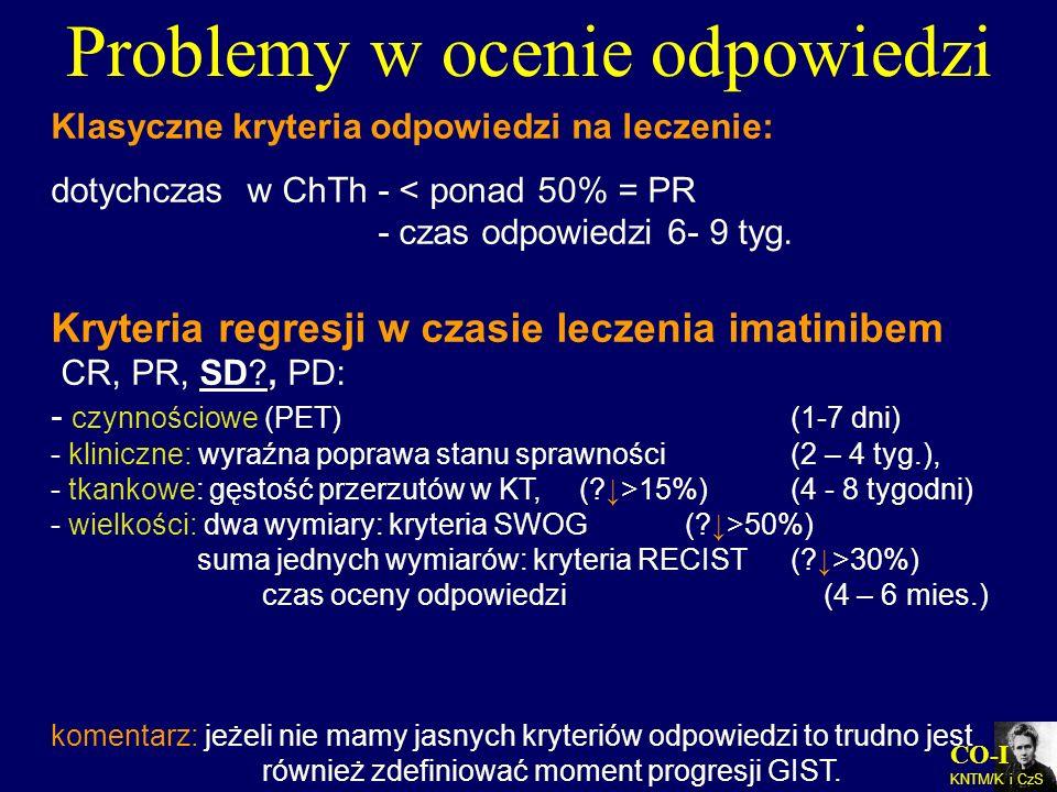 CO-I KNTM/K i CzS Klasyczne kryteria odpowiedzi na leczenie: dotychczas w ChTh - < ponad 50% = PR - czas odpowiedzi 6- 9 tyg. Kryteria regresji w czas