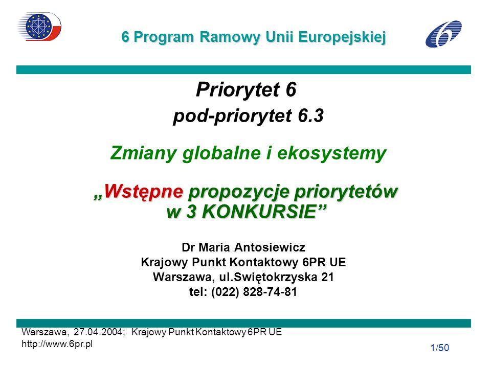 27.04.2204 PIG Warszawa; Krajowy Punkt Kontaktowy 6PR UE; http://www.6pr.pl 6PR 22/42 Obszar badawczy: IV.