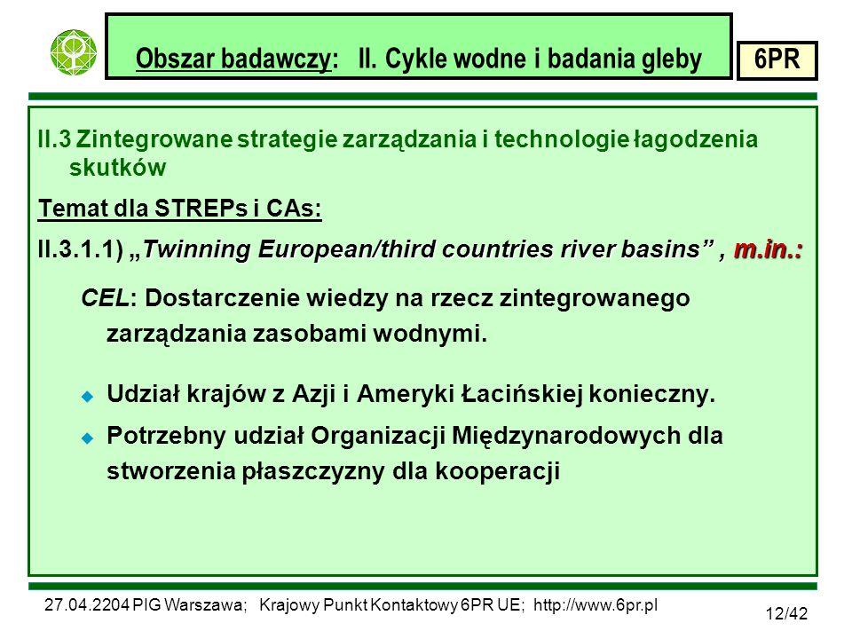 27.04.2204 PIG Warszawa; Krajowy Punkt Kontaktowy 6PR UE; http://www.6pr.pl 6PR 12/42 Obszar badawczy: II.