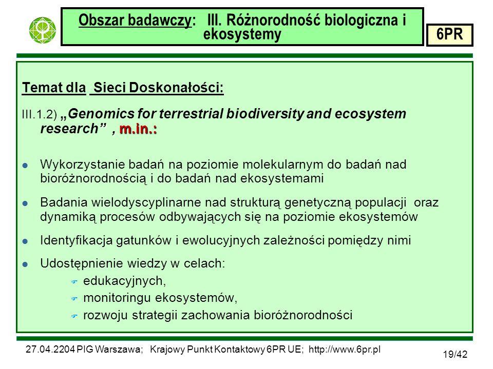 27.04.2204 PIG Warszawa; Krajowy Punkt Kontaktowy 6PR UE; http://www.6pr.pl 6PR 19/42 Obszar badawczy: III.