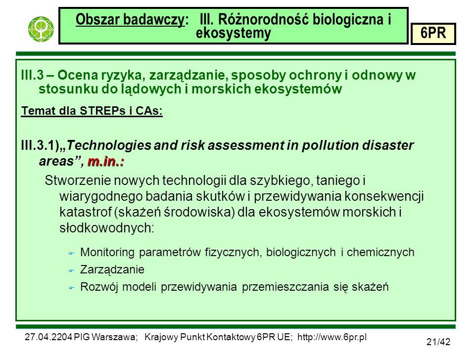 27.04.2204 PIG Warszawa; Krajowy Punkt Kontaktowy 6PR UE; http://www.6pr.pl 6PR 21/42 Obszar badawczy: III.
