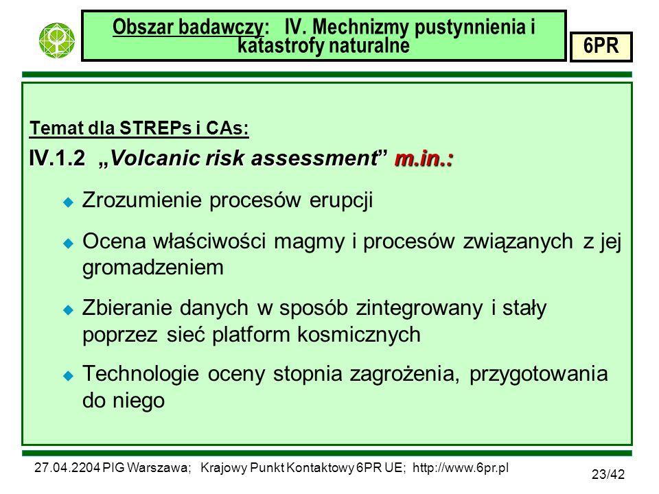 27.04.2204 PIG Warszawa; Krajowy Punkt Kontaktowy 6PR UE; http://www.6pr.pl 6PR 23/42 Obszar badawczy: IV.