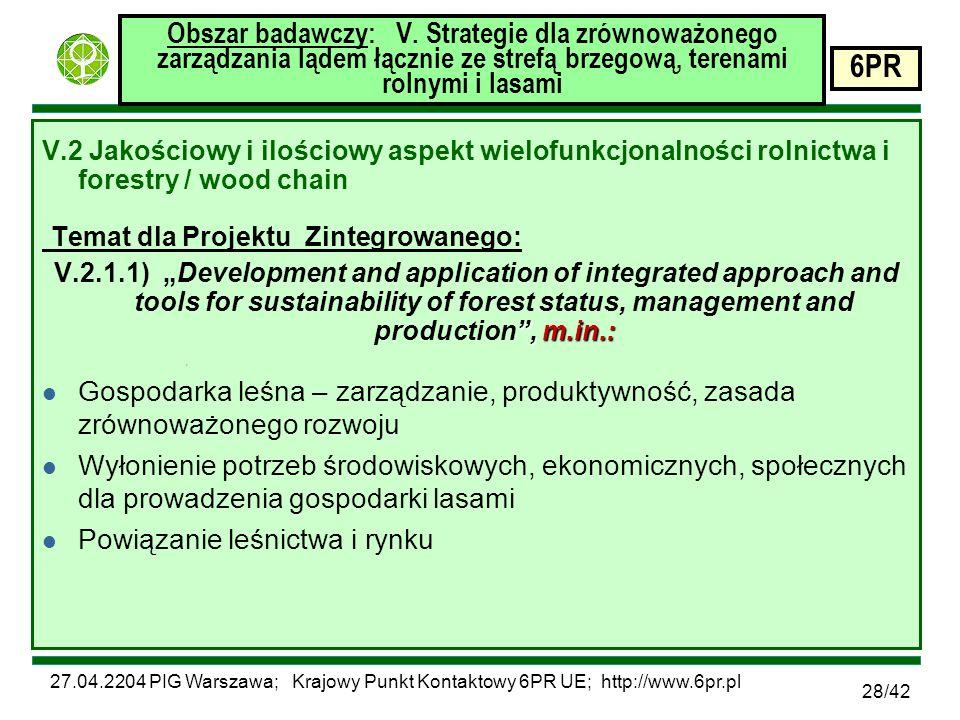 27.04.2204 PIG Warszawa; Krajowy Punkt Kontaktowy 6PR UE; http://www.6pr.pl 6PR 28/42 Obszar badawczy: V.