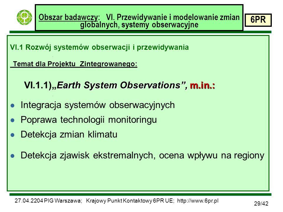27.04.2204 PIG Warszawa; Krajowy Punkt Kontaktowy 6PR UE; http://www.6pr.pl 6PR 29/42 Obszar badawczy: VI.
