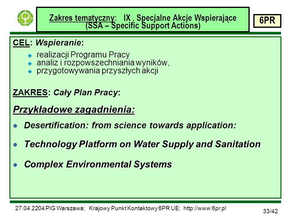 27.04.2204 PIG Warszawa; Krajowy Punkt Kontaktowy 6PR UE; http://www.6pr.pl 6PR 33/42 Zakres tematyczny: IX.