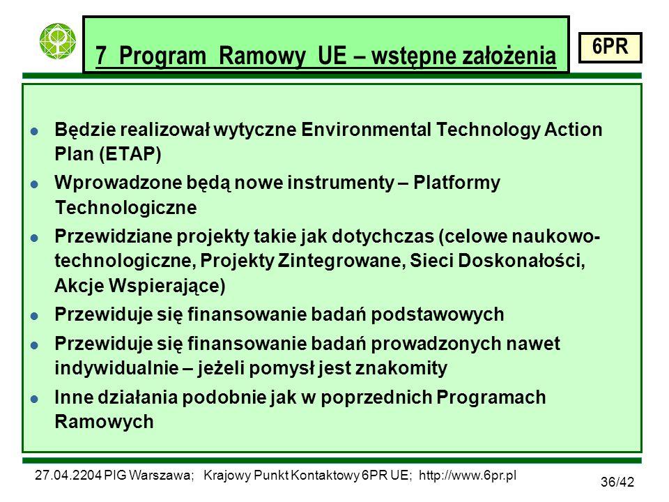 27.04.2204 PIG Warszawa; Krajowy Punkt Kontaktowy 6PR UE; http://www.6pr.pl 6PR 36/42 7 Program Ramowy UE – wstępne założenia l Będzie realizował wytyczne Environmental Technology Action Plan (ETAP) l Wprowadzone będą nowe instrumenty – Platformy Technologiczne l Przewidziane projekty takie jak dotychczas (celowe naukowo- technologiczne, Projekty Zintegrowane, Sieci Doskonałości, Akcje Wspierające) l Przewiduje się finansowanie badań podstawowych l Przewiduje się finansowanie badań prowadzonych nawet indywidualnie – jeżeli pomysł jest znakomity l Inne działania podobnie jak w poprzednich Programach Ramowych