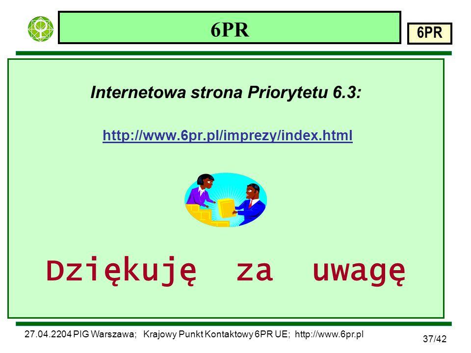 27.04.2204 PIG Warszawa; Krajowy Punkt Kontaktowy 6PR UE; http://www.6pr.pl 6PR 37/42 6PR Internetowa strona Priorytetu 6.3: http://www.6pr.pl/imprezy/index.html Dziękuję za uwagę